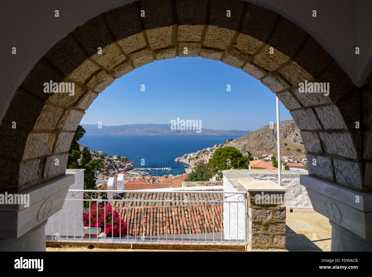 Views over the Gulf of Hydra from the Church of Saint Konstantinos of Hydra, Hydra Island, Greece - Stock Image