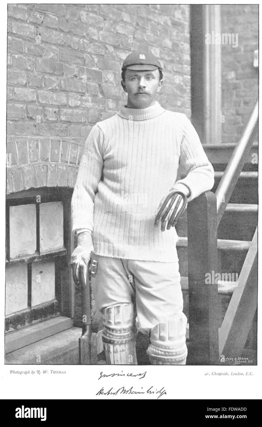 WARWICKSHIRE CRICKET: HW BAINBRIDGE- Captain of Eton, Cambridge Batsman, 1896 - Stock Image