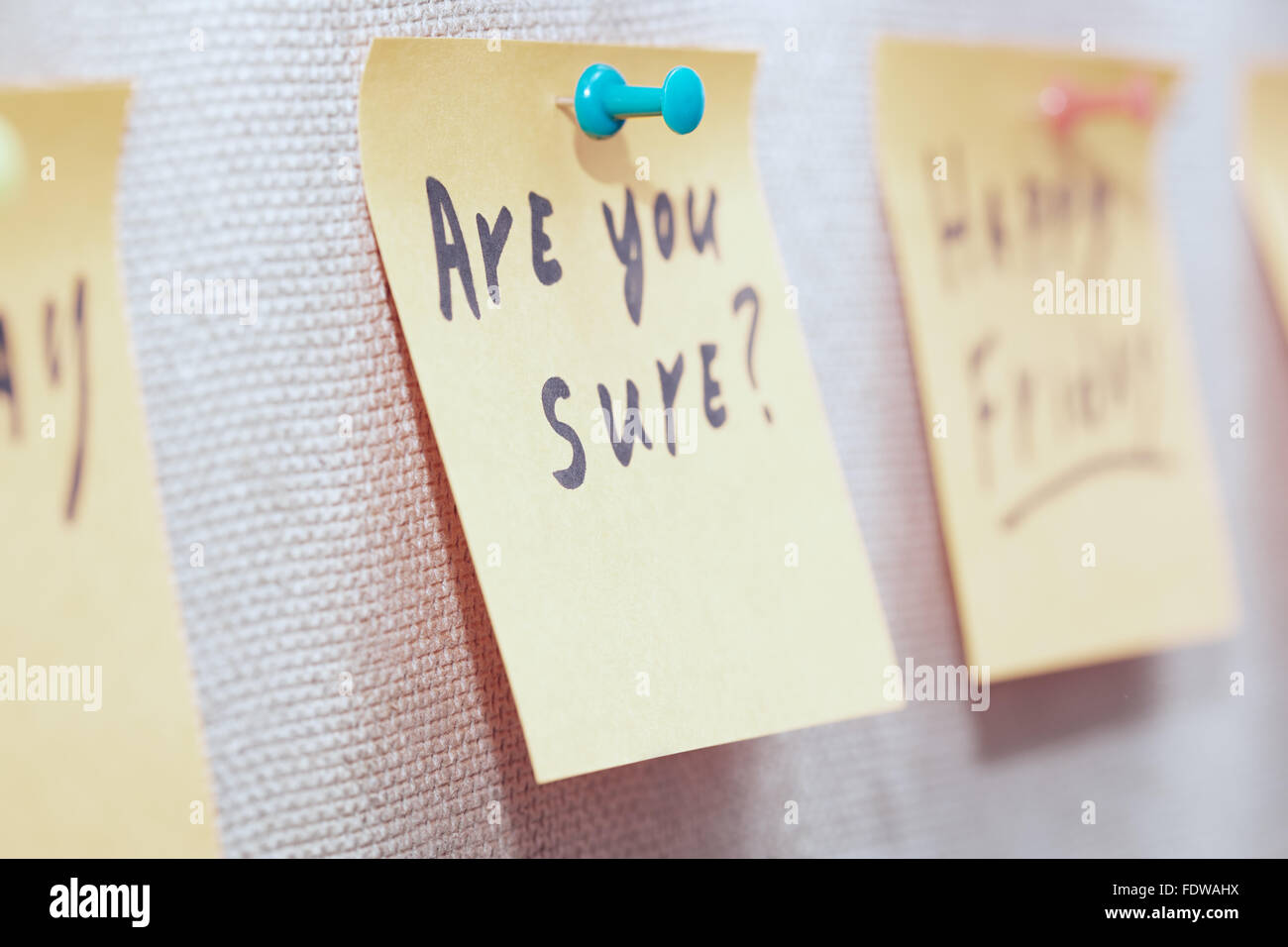 Adhesive note with Are you sure text on a label - Stock Image