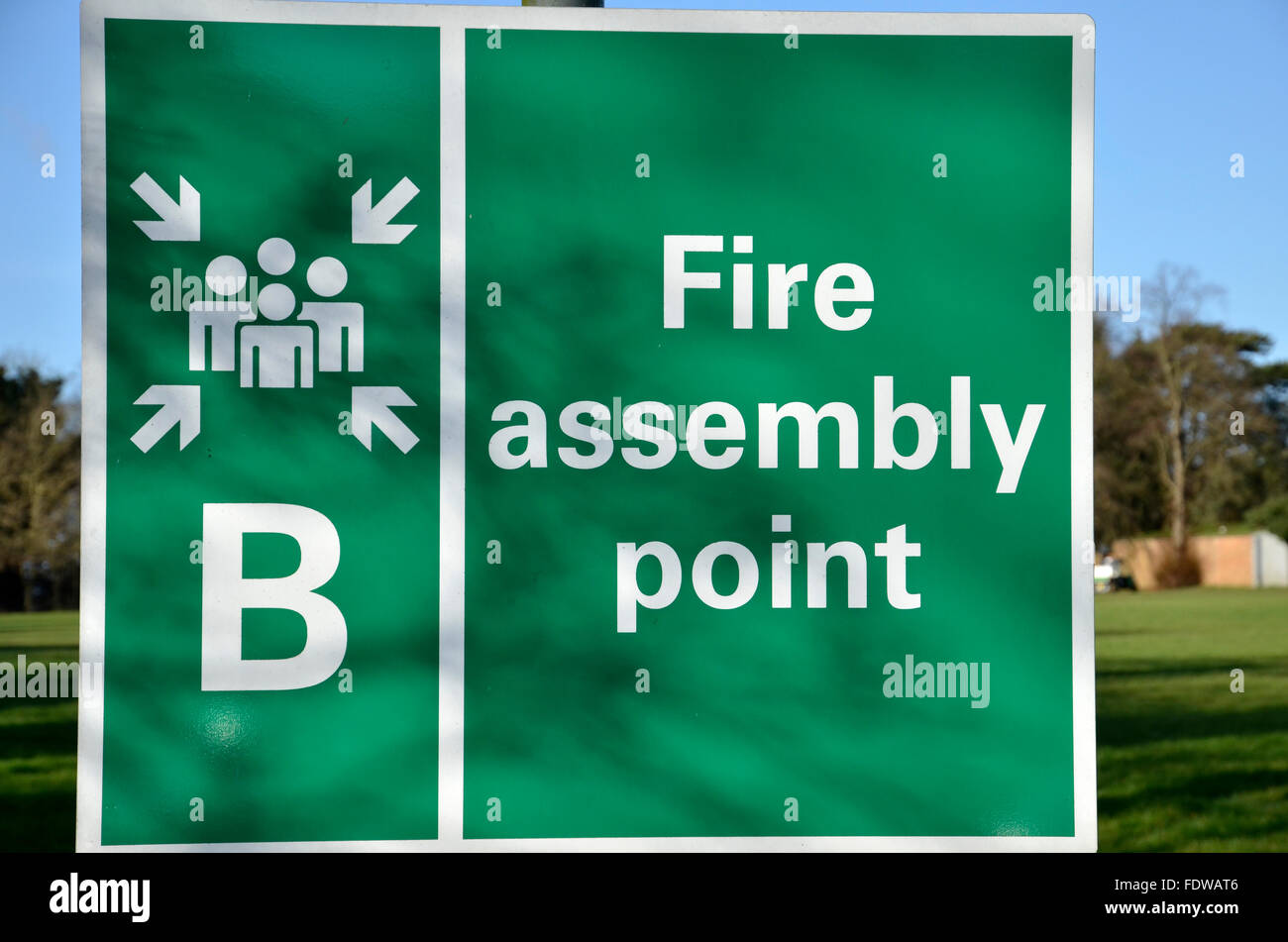 A Fire Assembly Point sign - Stock Image
