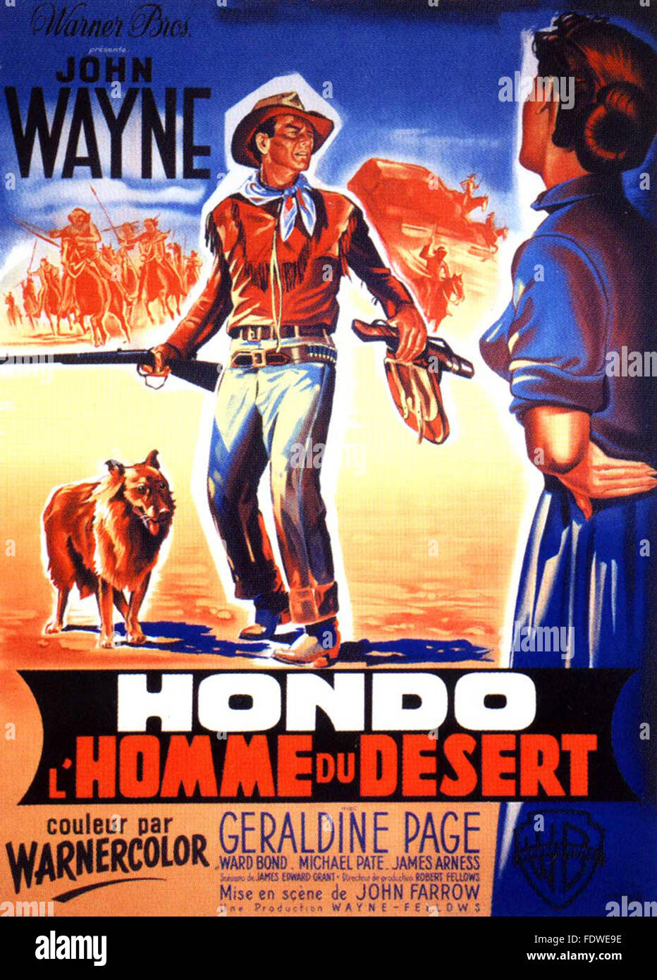 Hondo - French Movie Poster - Stock Image