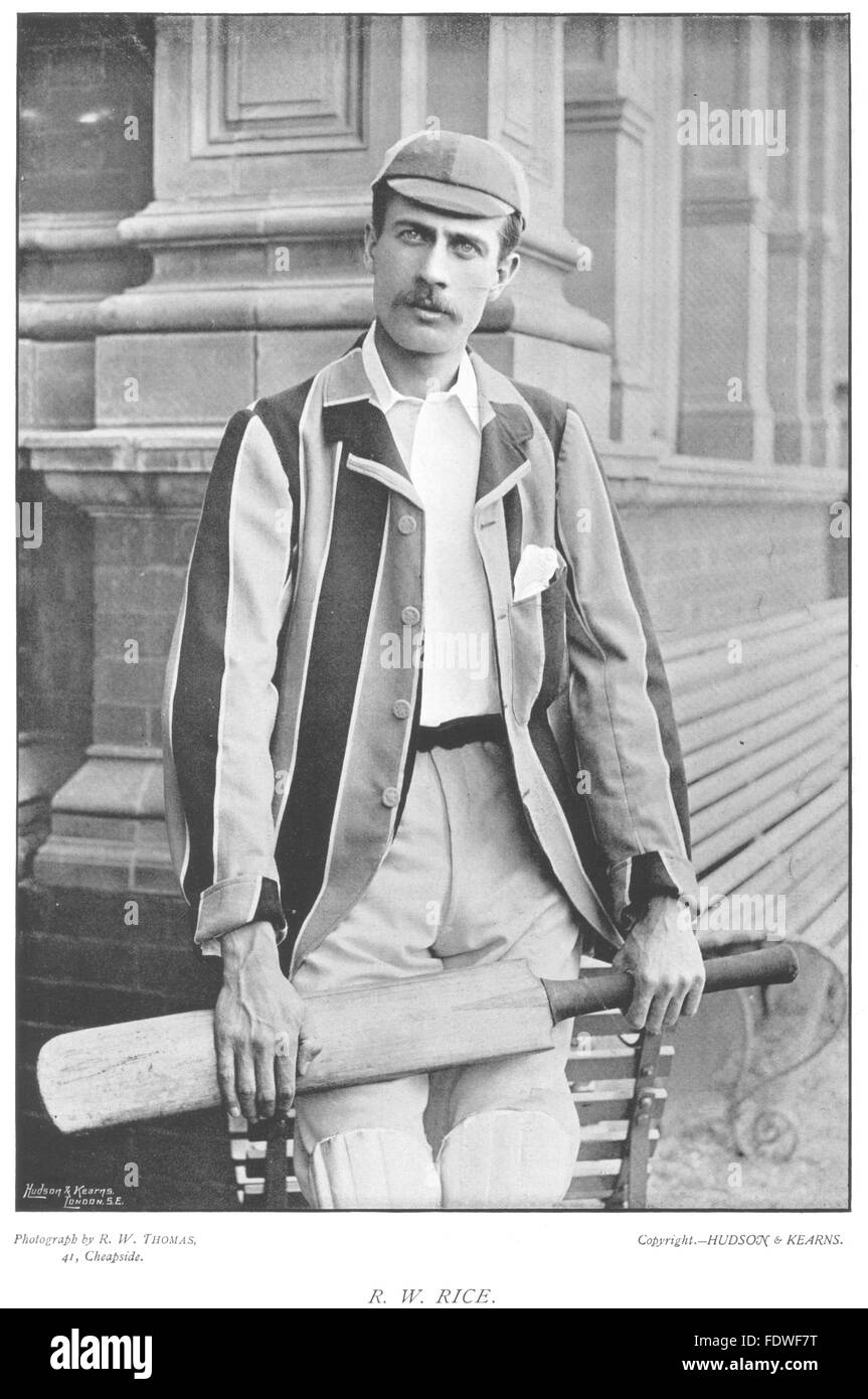 GLOUCESTERSHIRE CRICKET: RW RICE- Batsman; Oxford blue, antique print 1896 - Stock Image