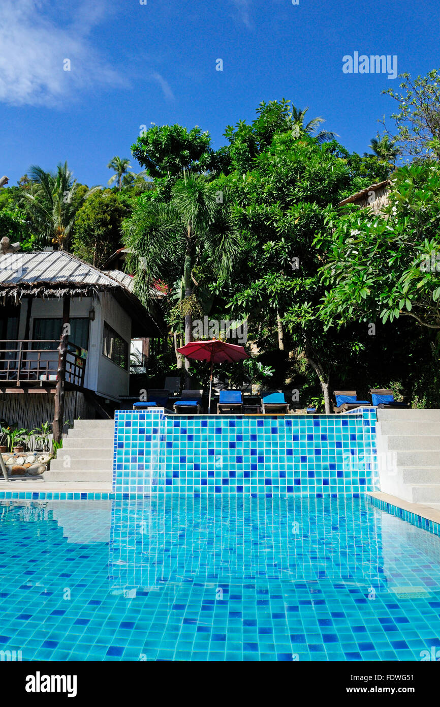 the side of a swimming pool on salad beach resort in Koh Phangan Thailand Stock Photo