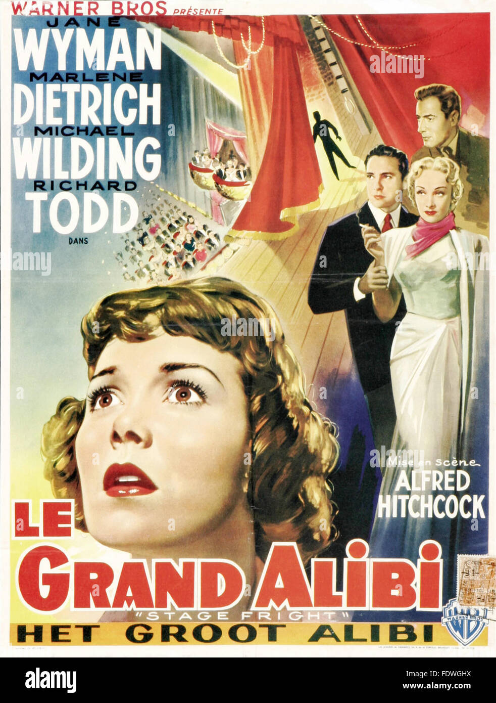 Stage Fright - Le Grand Alibi - French Movie Poster - Stock Image