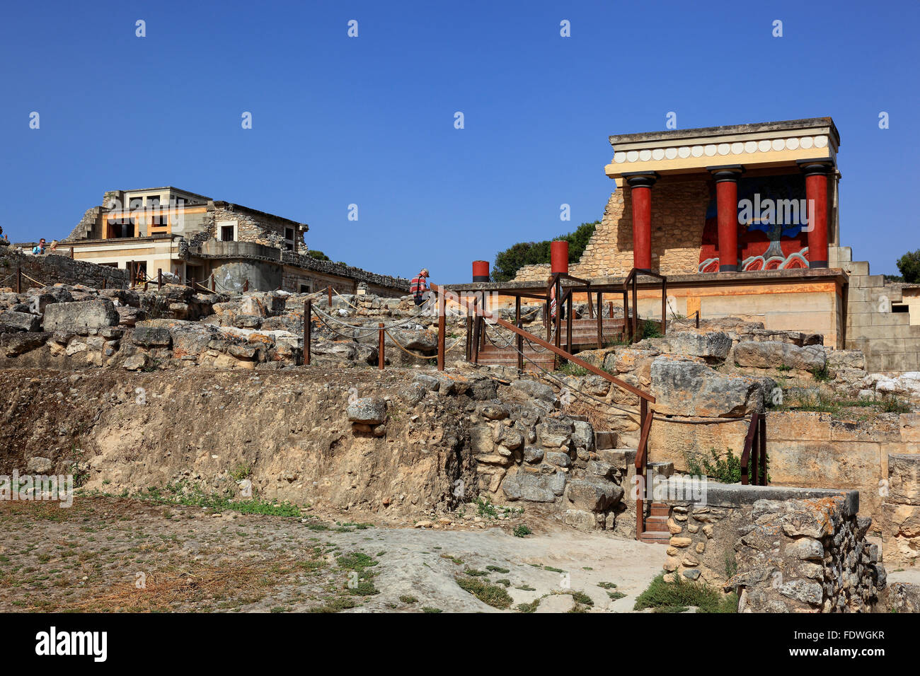 Crete, Knossos, palace complex of the Minoer, reconstructions, overview and bastion - Stock Image