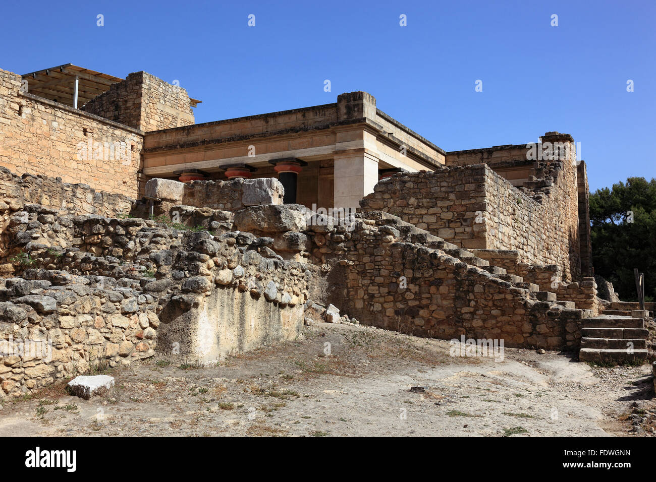 Crete, Knossos, palace complex of the Minoer, The sound of stand-in Axes, hall of the double ax, reconstructions - Stock Image