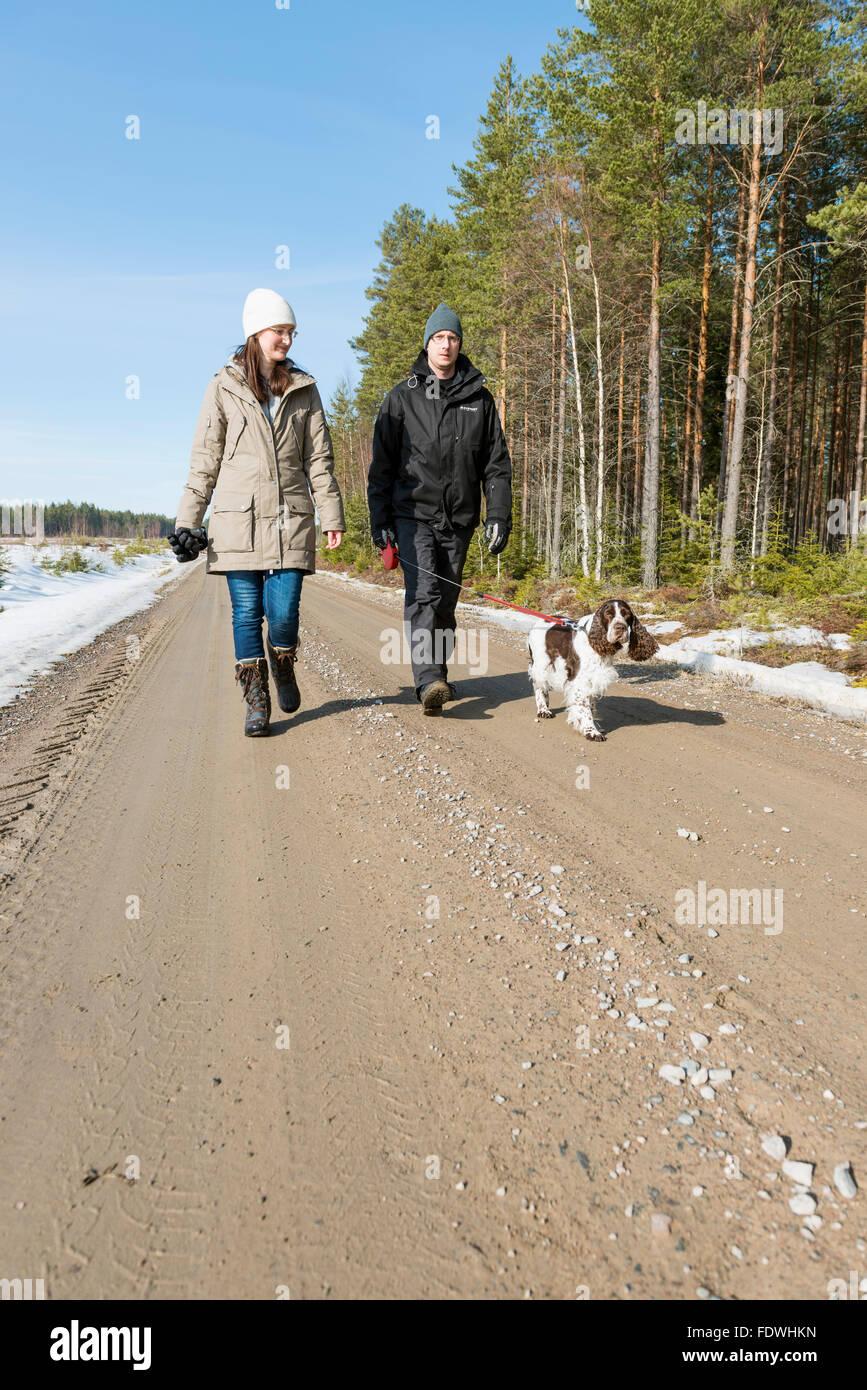 Walking the dog - Stock Image