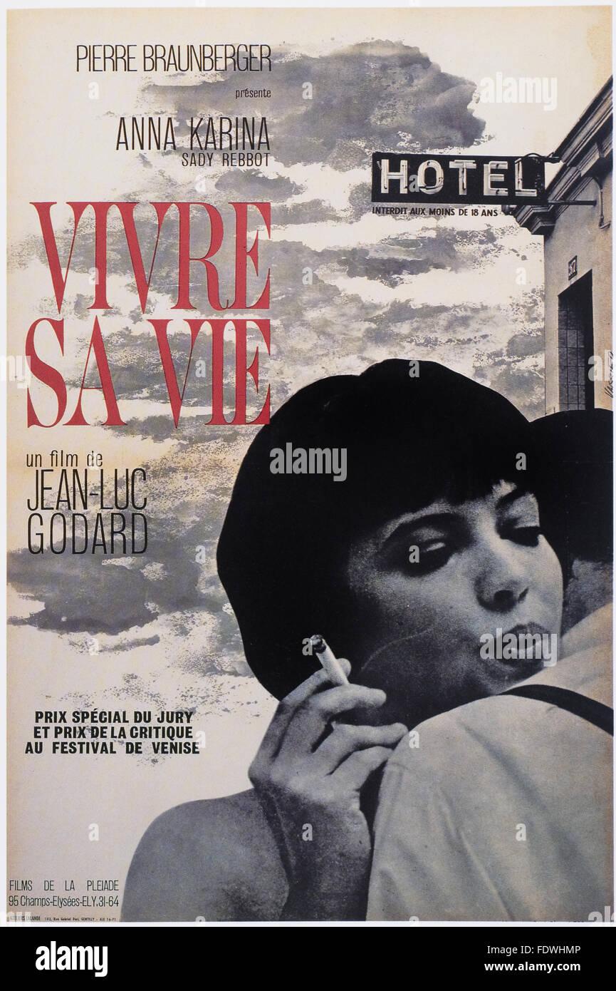 Vivre Sa Vie - Jean-Luc Godard - French Movie Poster - Stock Image