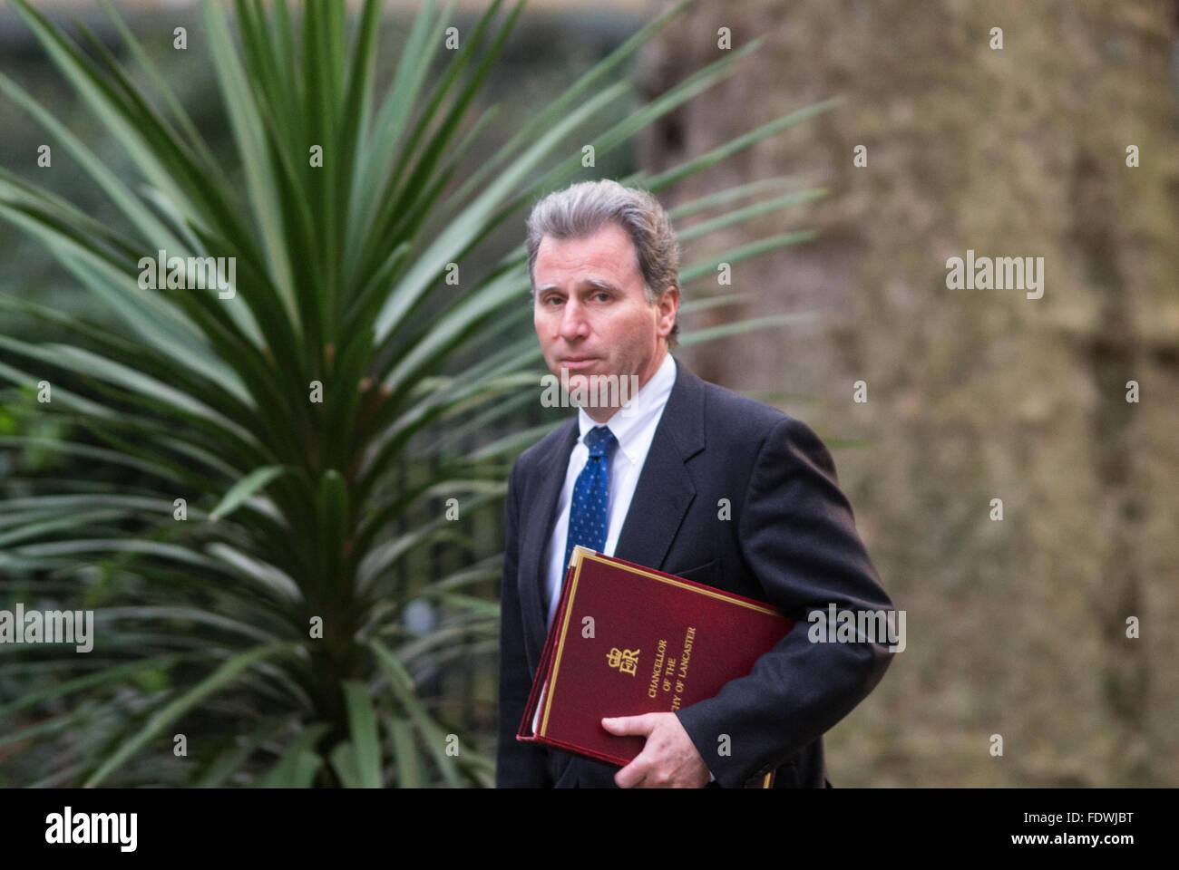 Oliver Letwin,Minister of State for Government Policy,arrives at Number 10 Downing Street for a Cabinet meeting - Stock Image