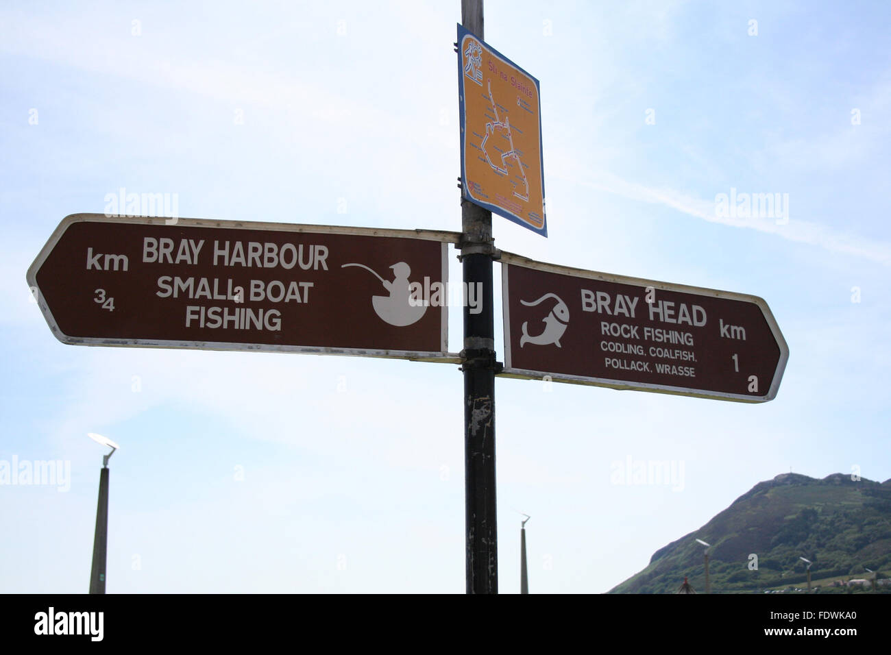 Bray harbour, bray head, beach in Co. Dublin, Ireland - Stock Image