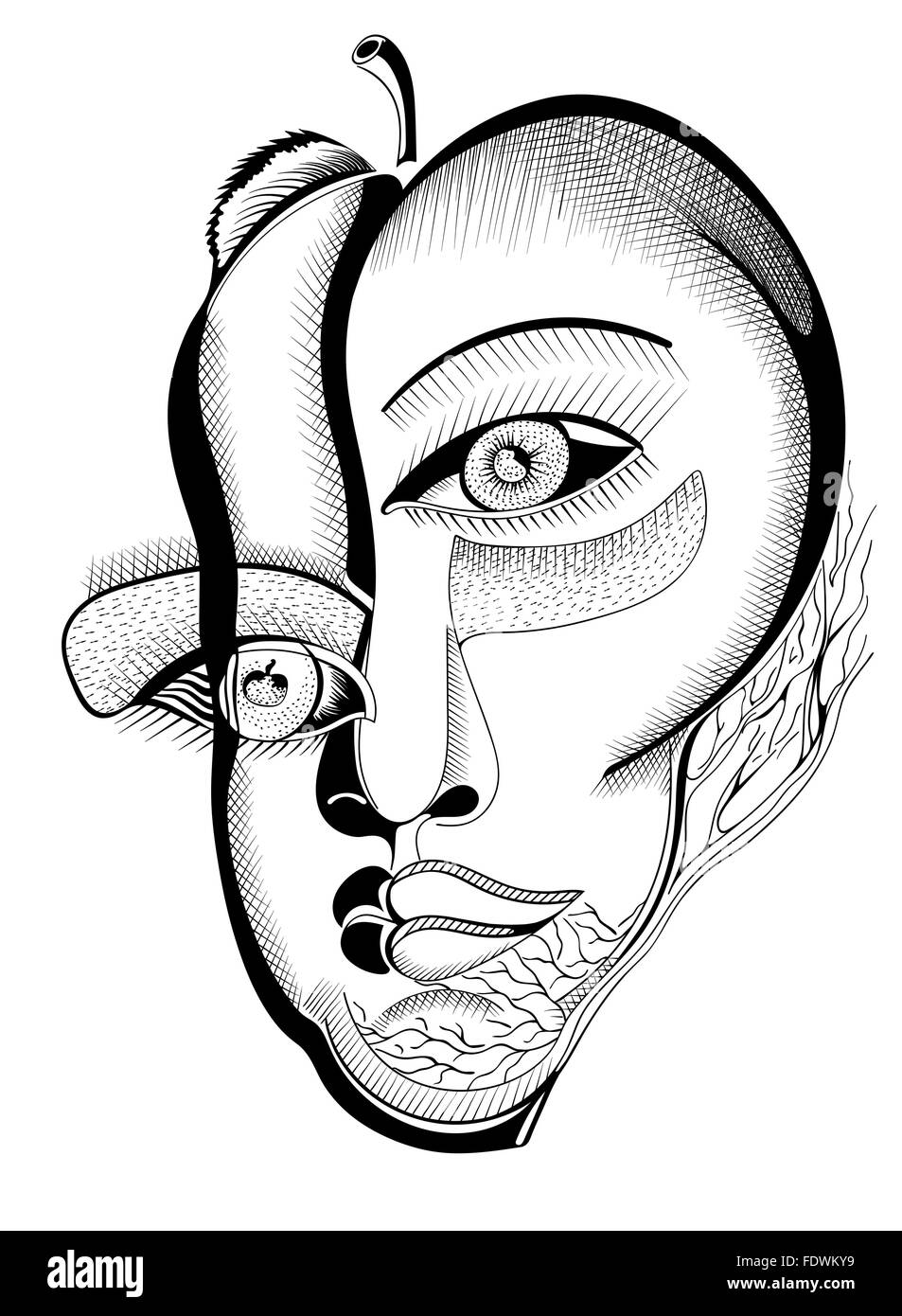 Surreal hand drawing faces abstract template with black outlines can use for posters cards stickers illustrations