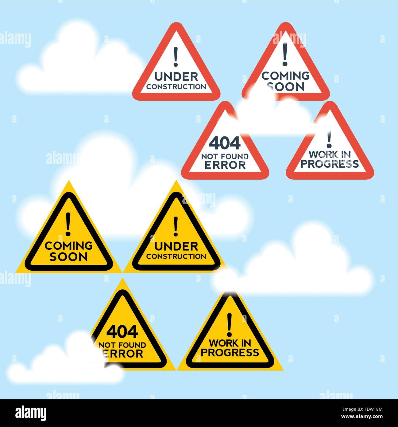 Signs set for website under construction, anticipation motifs. - Stock Vector