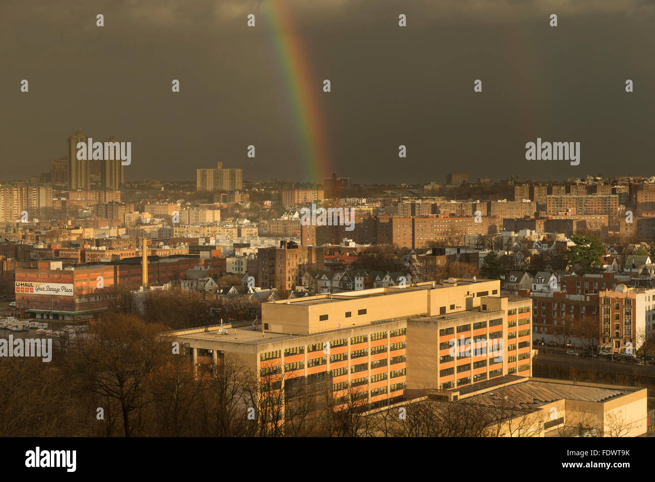 Bronx, NY USA - January 10, 2016: Unusually warm winter produced thunderstorm in the Bronx and double rainbow after - Stock Image
