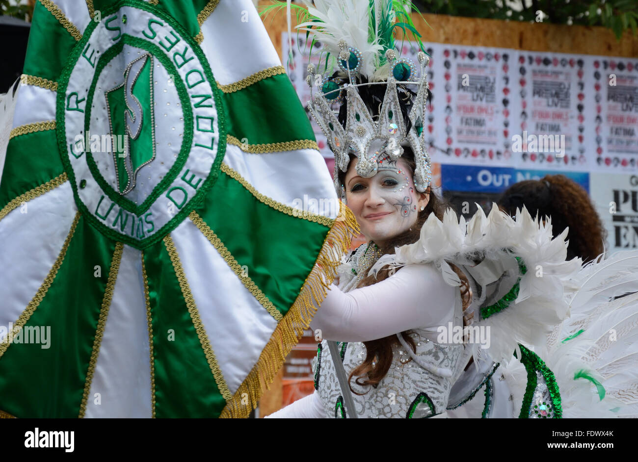 Ice Queen, at Notting Hill carnival, London, England. - Stock Image