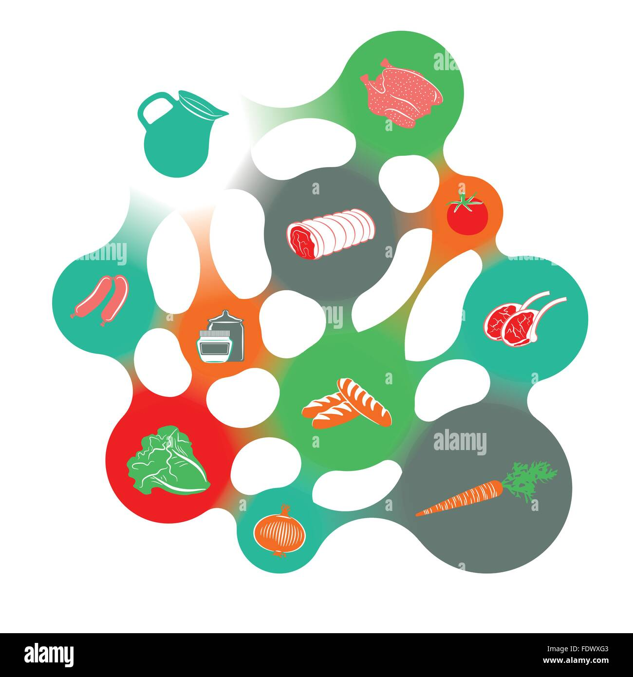 Food infographic in the shape of a colorful metaball structure. Stock Vector