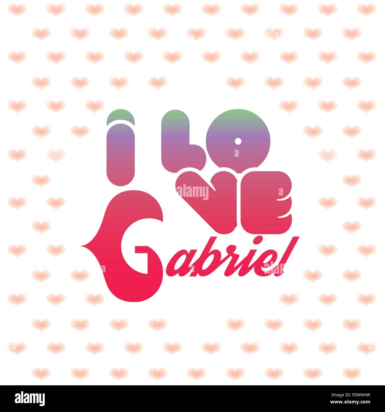 I love Gabriel greeting card with heart shaped initial of the beloved one Stock Vector