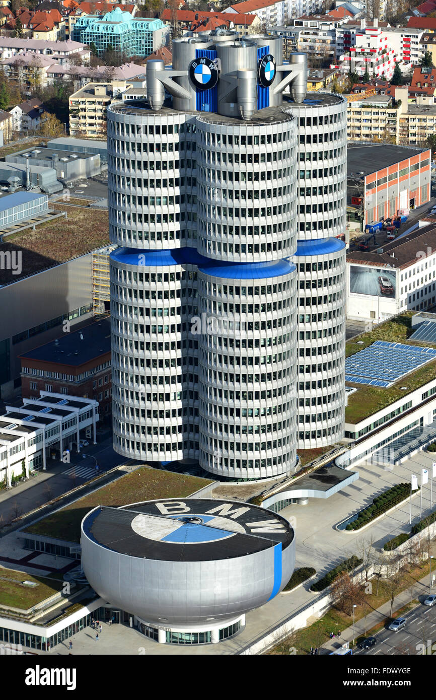 Muenchen, Germany, overlooking the BMW Museum and the BMW ...