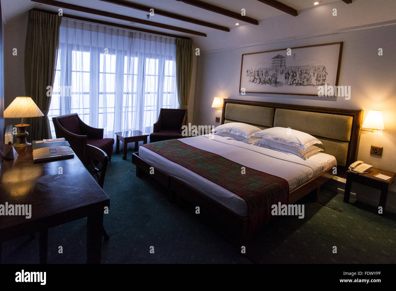 One of the 54 bedrooms at the at the 4star- Heritance Tea Factory hotel in the hills above Nuwara Eliya, Central - Stock Image