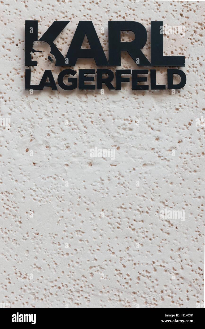 Berlin, Germany, broken lettering Karl Lagerfeld - Stock Image