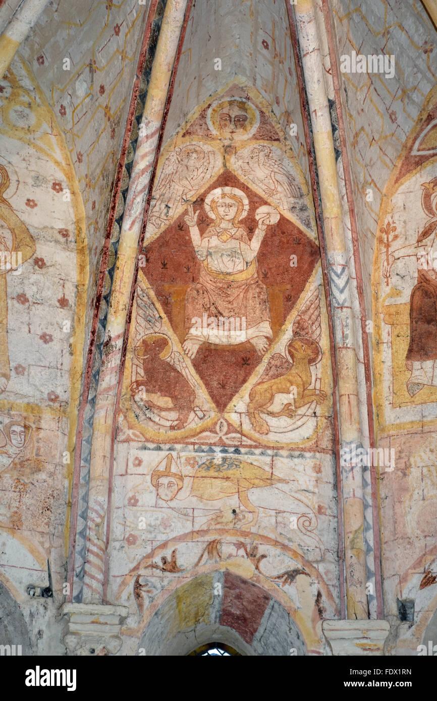 Paintings in the choir of the Chapelle de la Trinité (Trinity Chapel) Saint-Emilion (Gironde 33) France - Stock Image