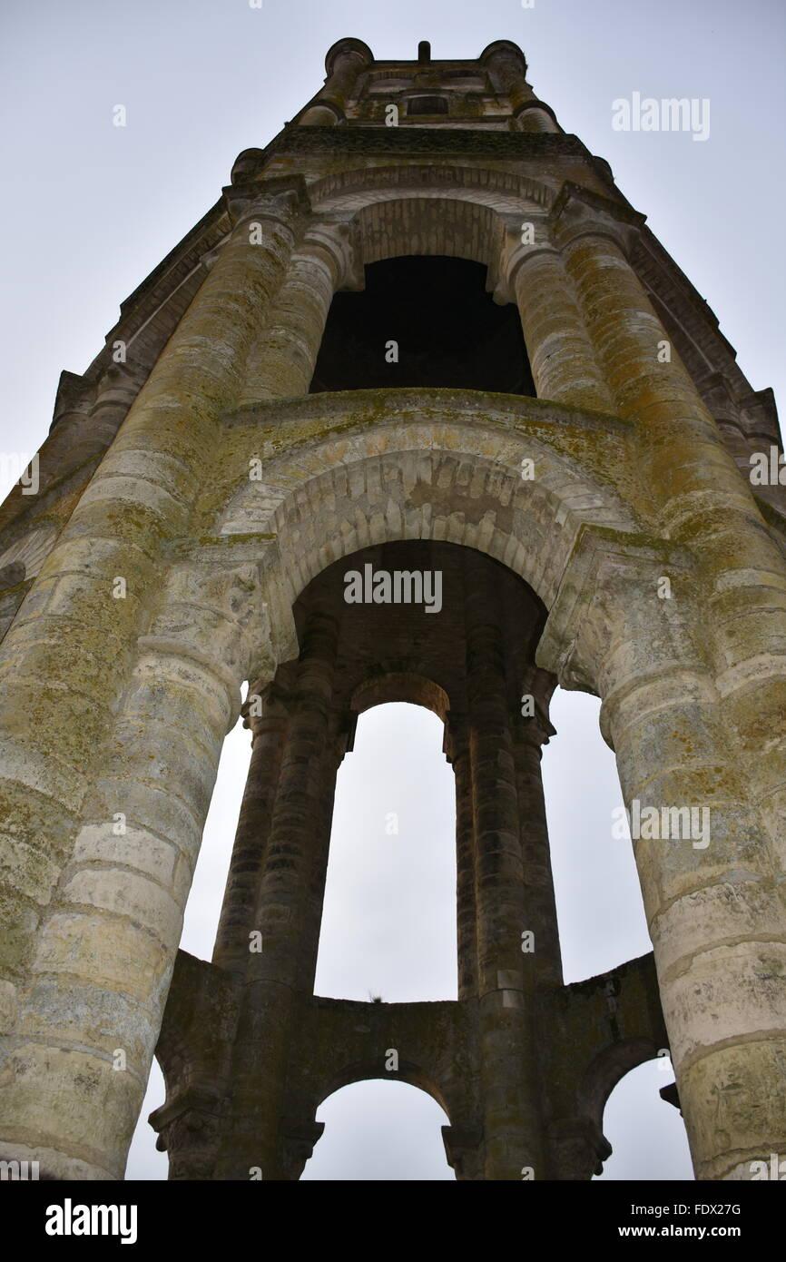 Octagonal tower of Abbaye Saint Sauveur de Charroux (Saint Sauveur Abbey), Vienne (86) France - Stock Image