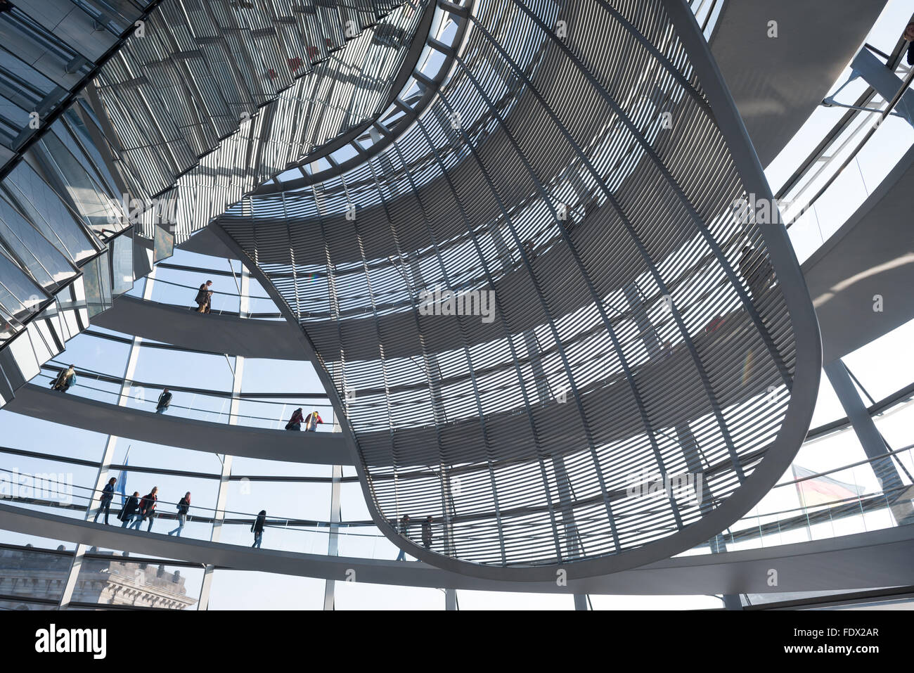 Berlin, Germany, reflections in the Reichstag dome Stock Photo