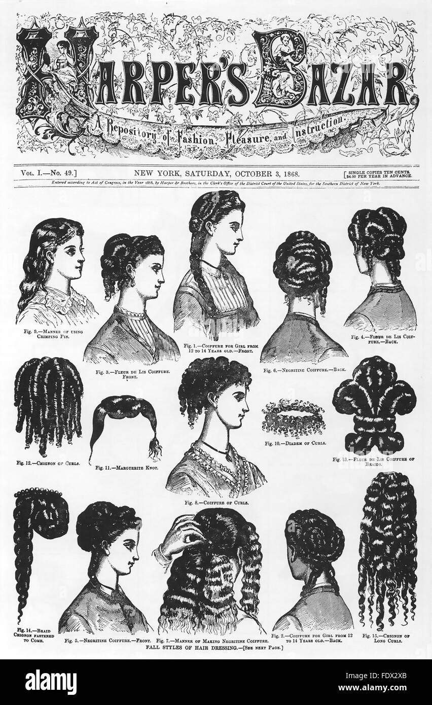 HAIRSTYLES from 1868 cover of the American magazine Harper's Bazaar - Stock Image