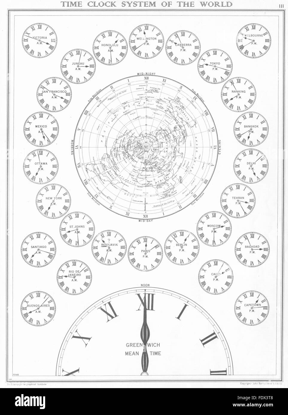 WORLD: Time Clock System of the World, 1938 vintage map Stock Photo