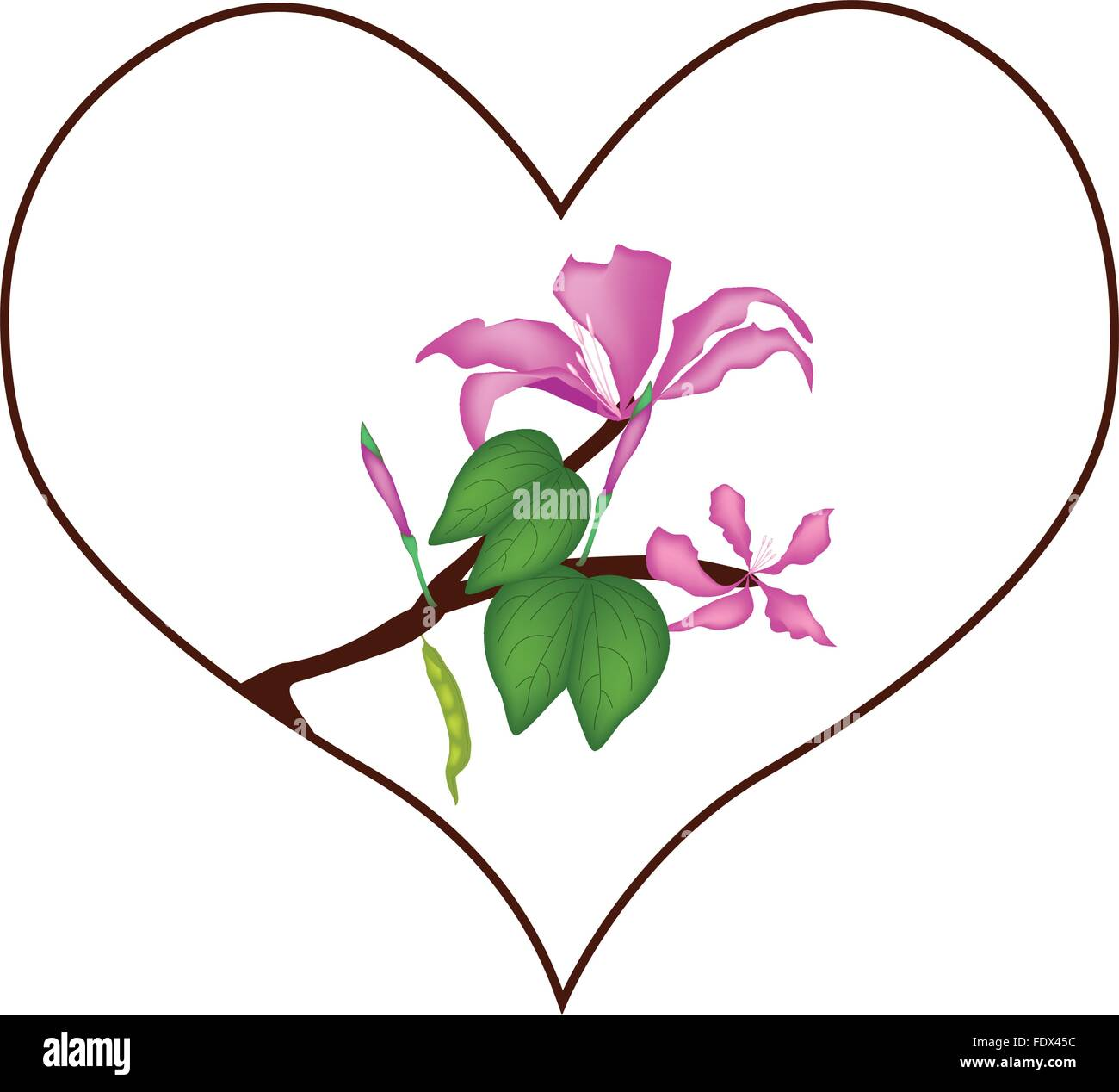 Love Concept Illustration Of Pink Hibiscus Flowers Or Red Rose