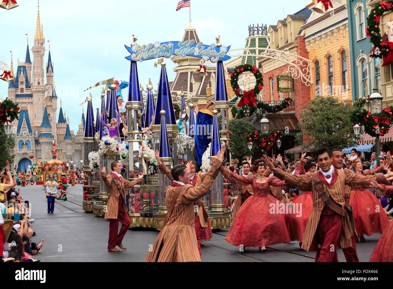 Christmas Parade in Magic Kingdom, Orlando, Florida Stock Photo