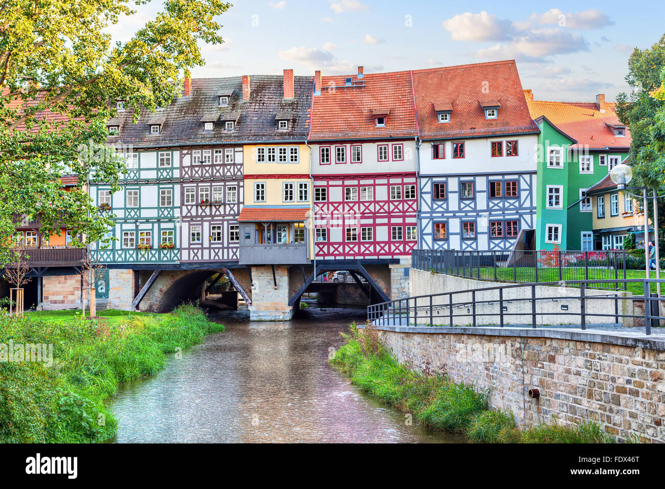 Bridge Kramerbrucke in Erfurt, Thuringia, Germany - Stock Image