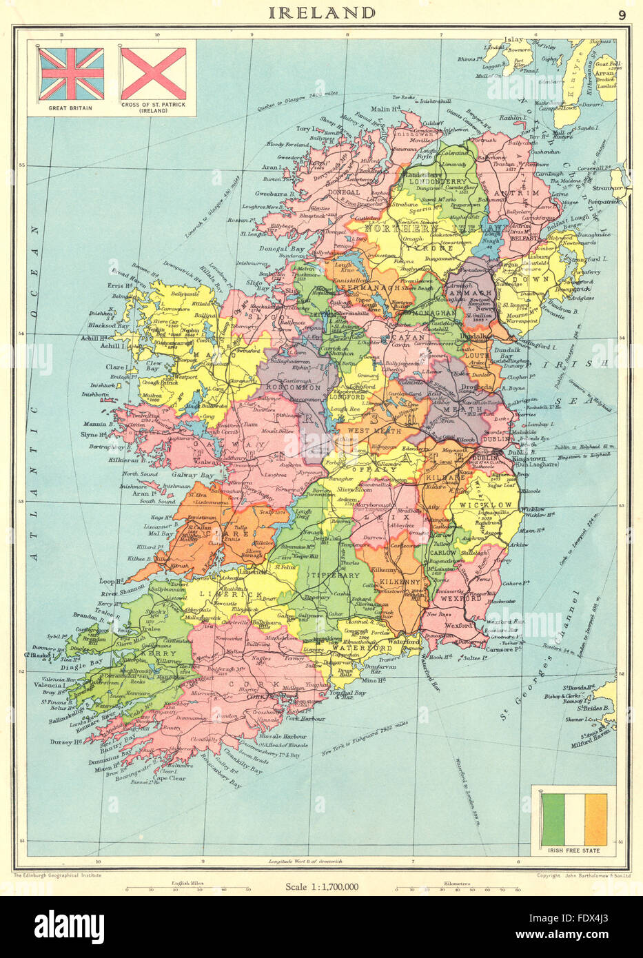 Map Of Ireland And Counties.Ireland Irish Free State Ulster Northern Ireland Counties 1938