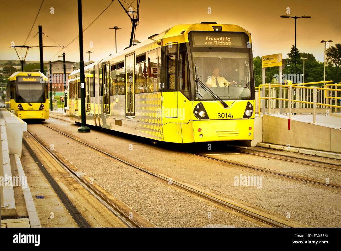 Trams arriving at Mumps Bridge Station, Oldham, Lancashire, UK - Stock Image