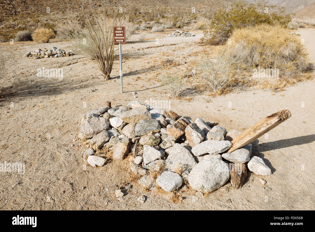 The graves of three people who died of dehydration in Anza-Borrego Desert State Park, California - Stock Image