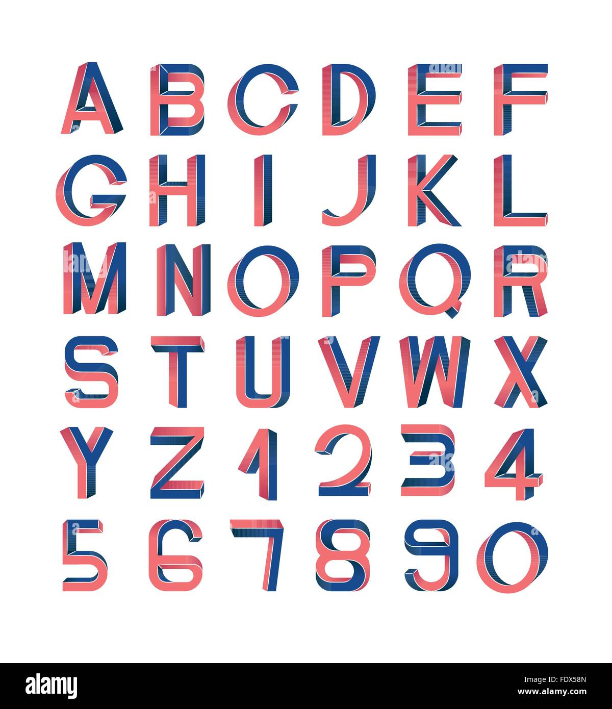 Impossible font set, including numerals. Red and blue gradients, white striped edges. Stock Vector