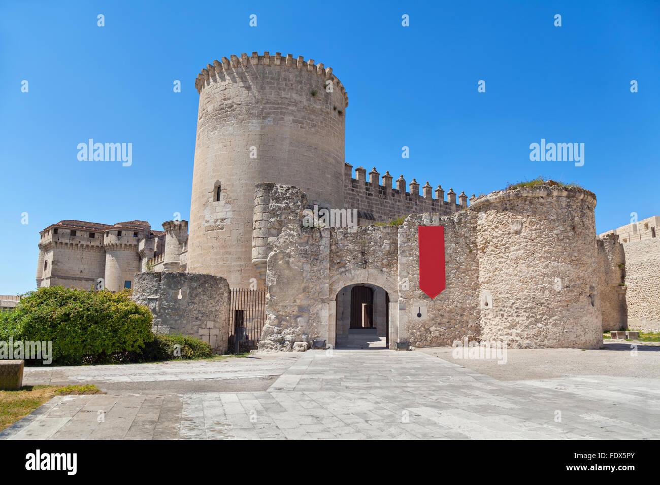 Entrance to Cuellar Castle, Segovia Province, Castile and Leon, Spain - Stock Image