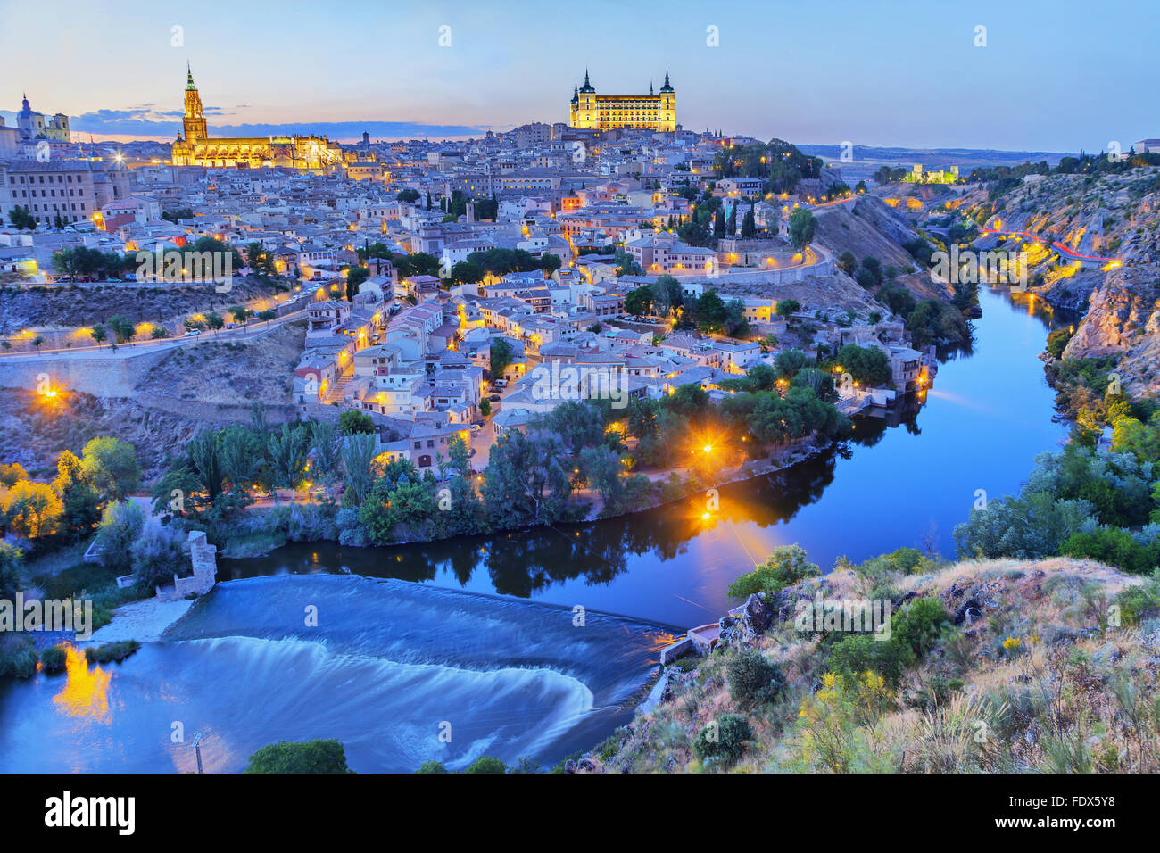 Toledo in the evening with picturesque bend of river Tajo - Stock Image