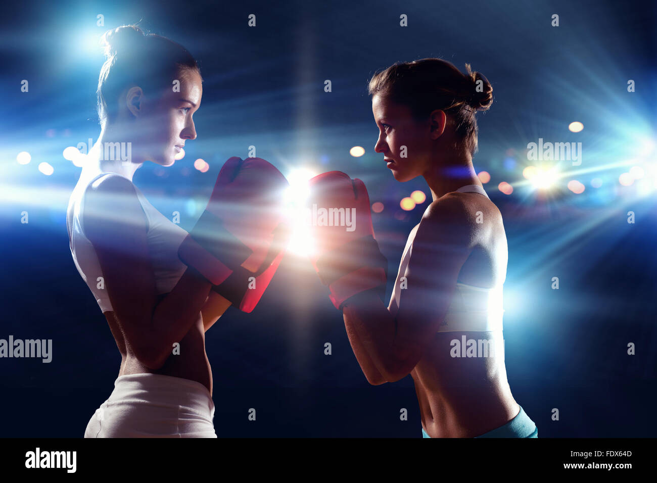 4c7d2b7e2 Two boxer women in gloves greet each other before fight Stock Photo ...