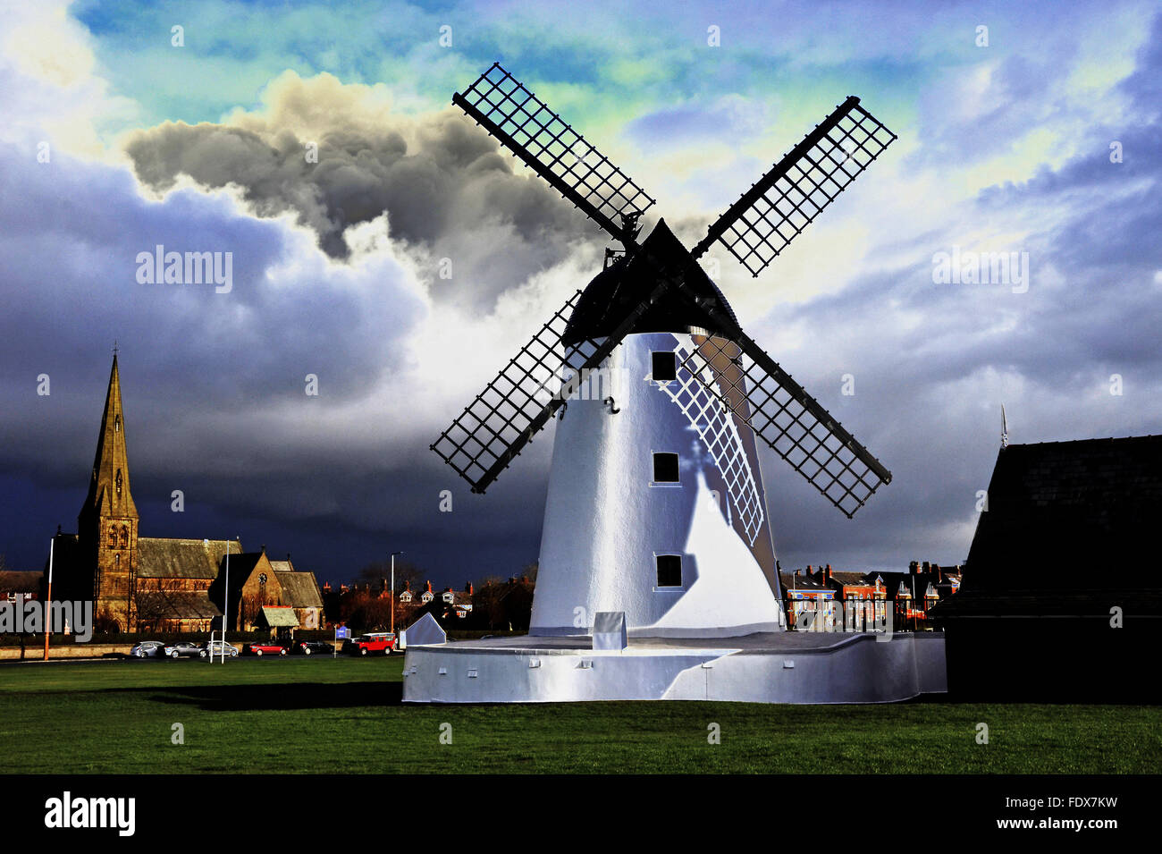 Lytham Windmill in Lancashire - Stock Image