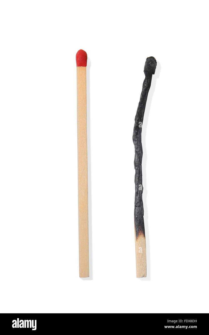 Studio shot of two wooden matchsticks - Stock Image