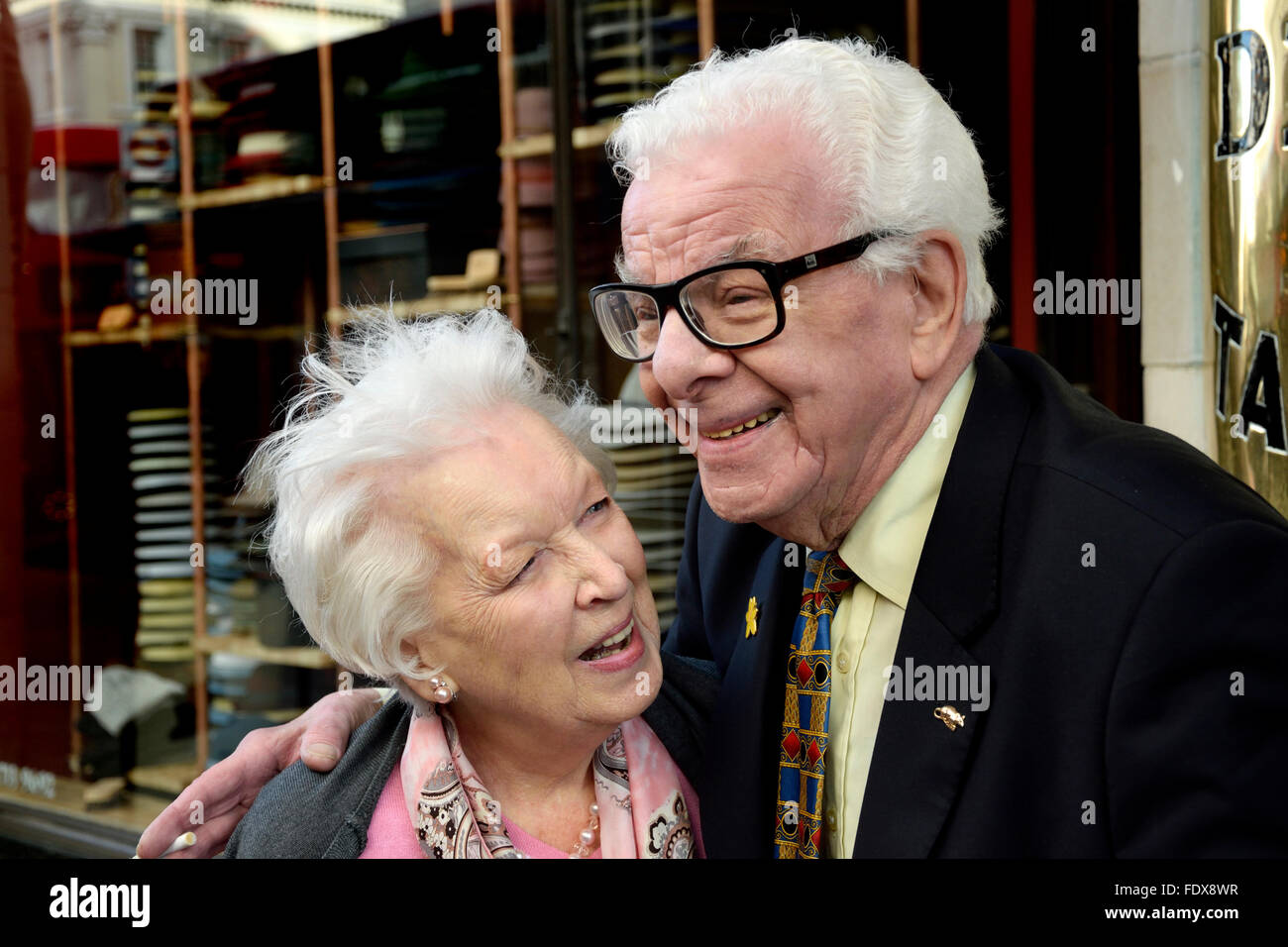 Barry Cryer and June Whitfield outside the Oldie of the Year Awards, Simpsons, the Strand, London 2nd Feb 2016 Stock Photo