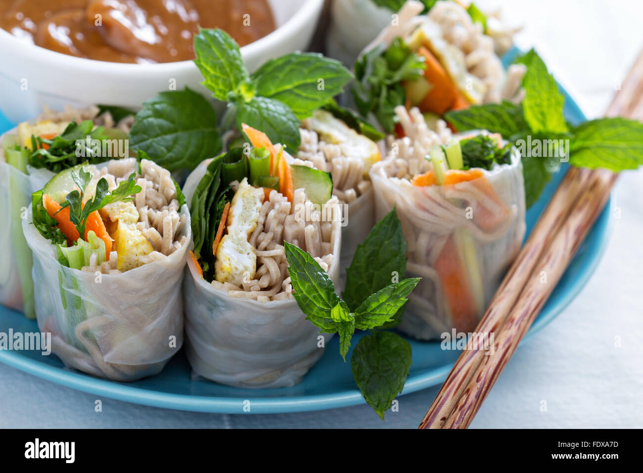 Summer rolls with soba noodles, egg and vegetables - Stock Image