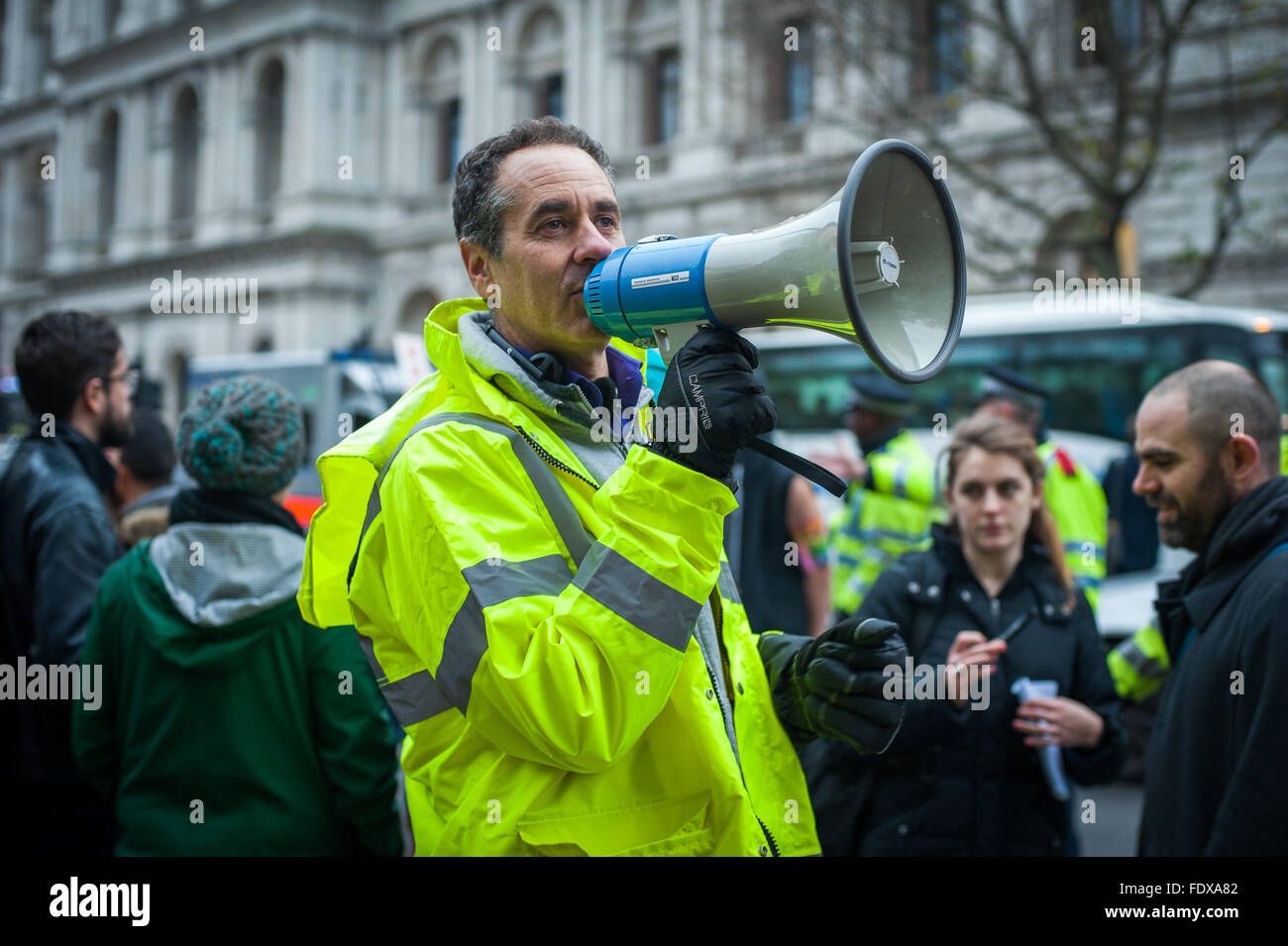 Activist Danny Shine against Westbrook Investment's plan to evict New Era Estate families, London - Stock Image