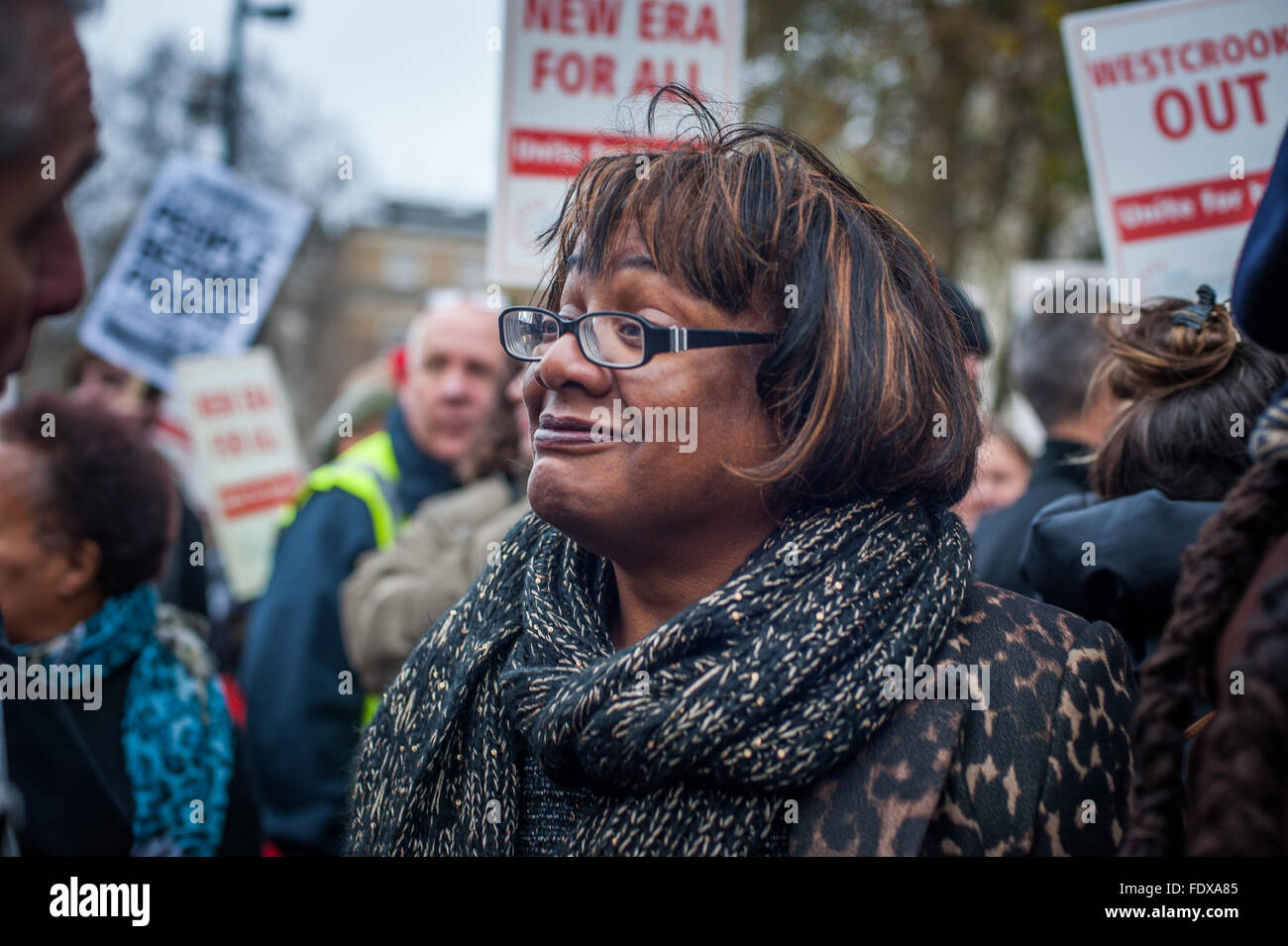 MP Diane Abbott  against Westbrook Investment's plan to evict New Era Estate families, London - Stock Image