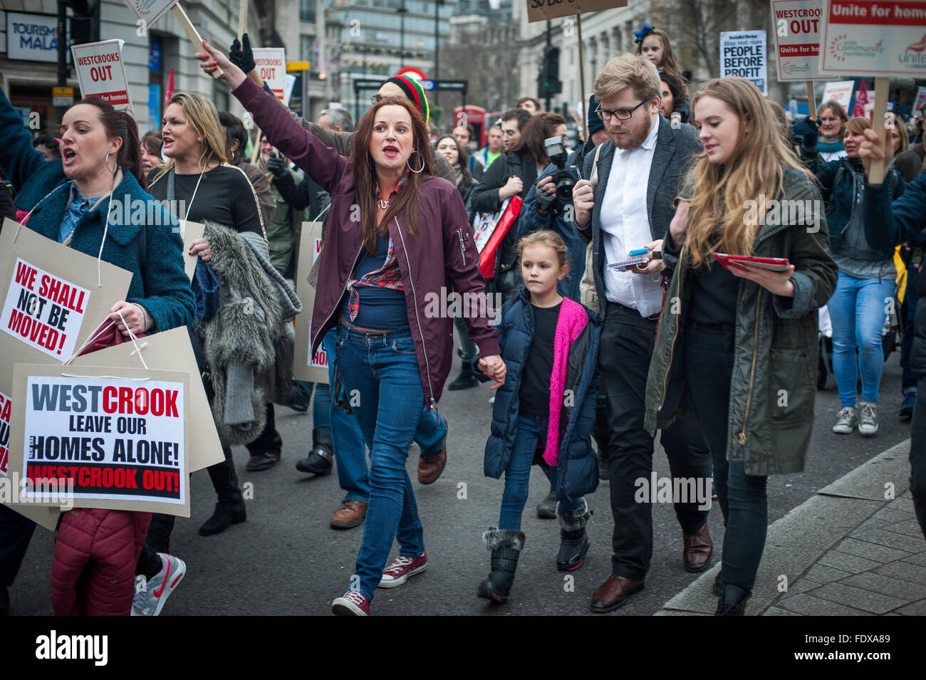 Family Protesters against Westbrook Investment's plan to evict New Era Estate families, London - Stock Image