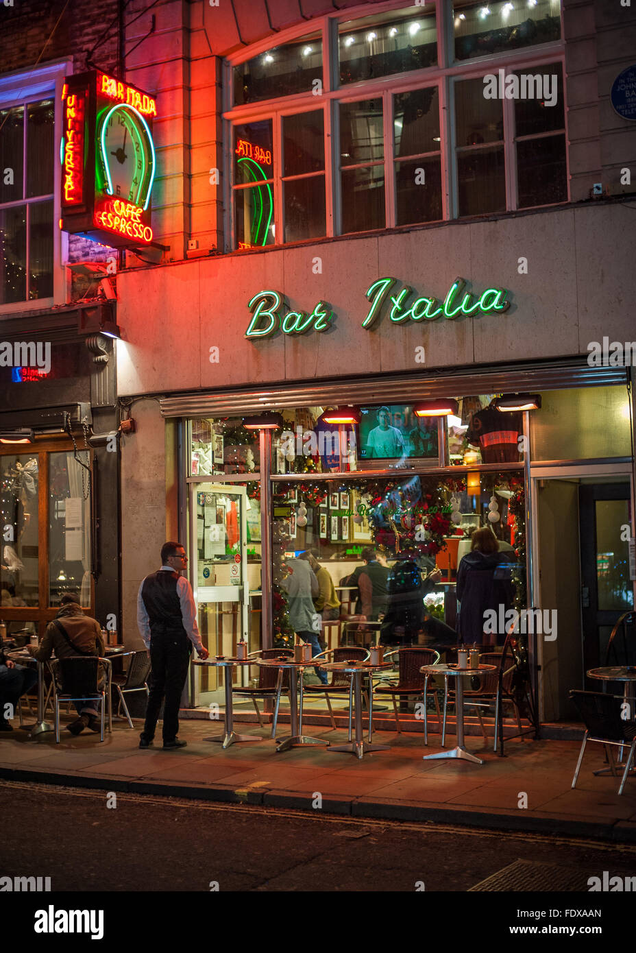 'Bar Italia' neon lights and nightlife, Soho, London - Stock Image