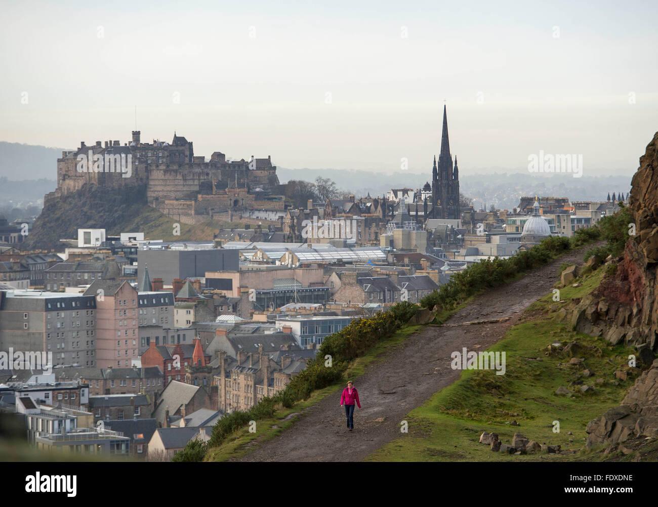 13th December 2015,  Edinburgh, Scotland, UK.  A lone person on the Radical road, Salisbury Crags Holyrood Park. - Stock Image