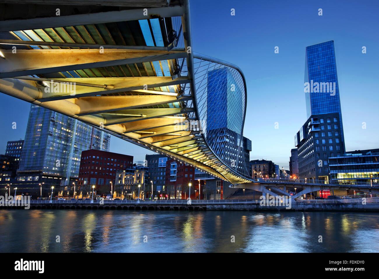 The Zubizuri (Basque for 'white bridge'),  across the Nervion River in Bilbao, Spain. - Stock Image