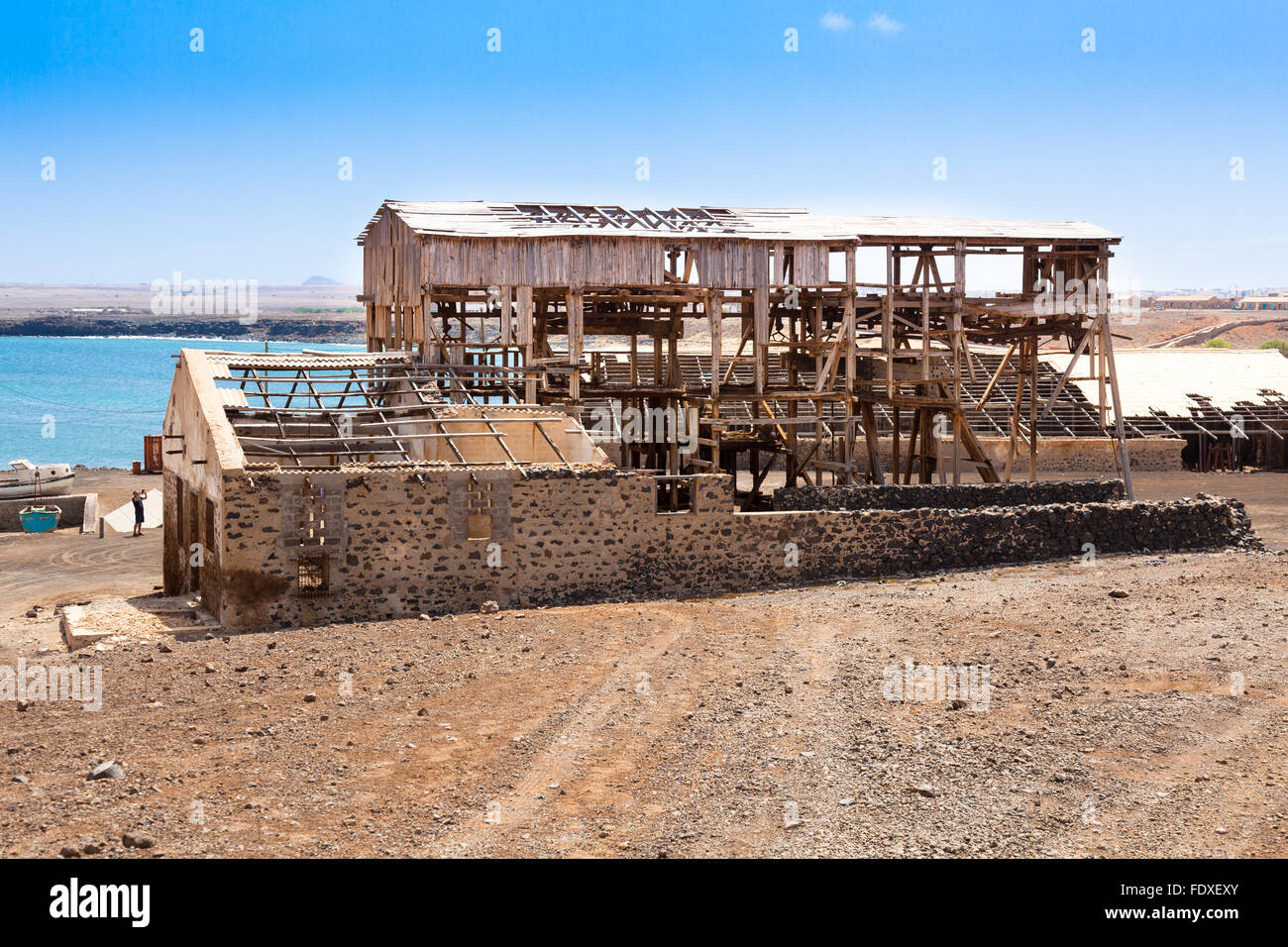 Ruin of ancient salt extraction factory in Pedra Lume near Salinas in Sal Cape Verde - Stock Image