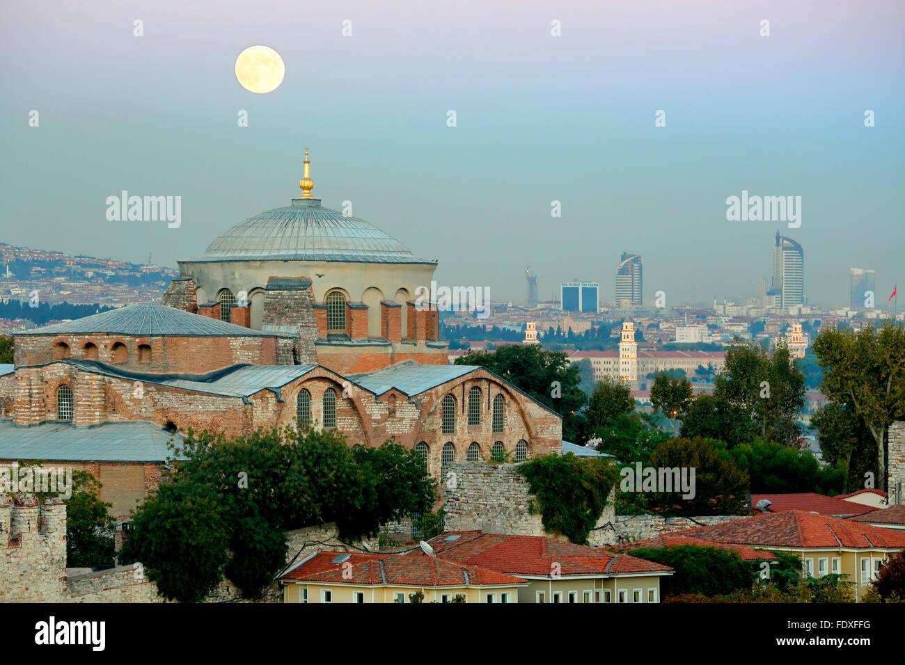 Moon over dome of Hagia Eirene Museum, Topkapi Palace, Istanbul, Turkey - Stock Image